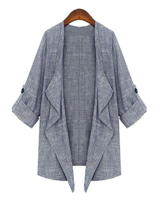 online 3/4 Sleeve Solid Color Linen Coat - GRAY M