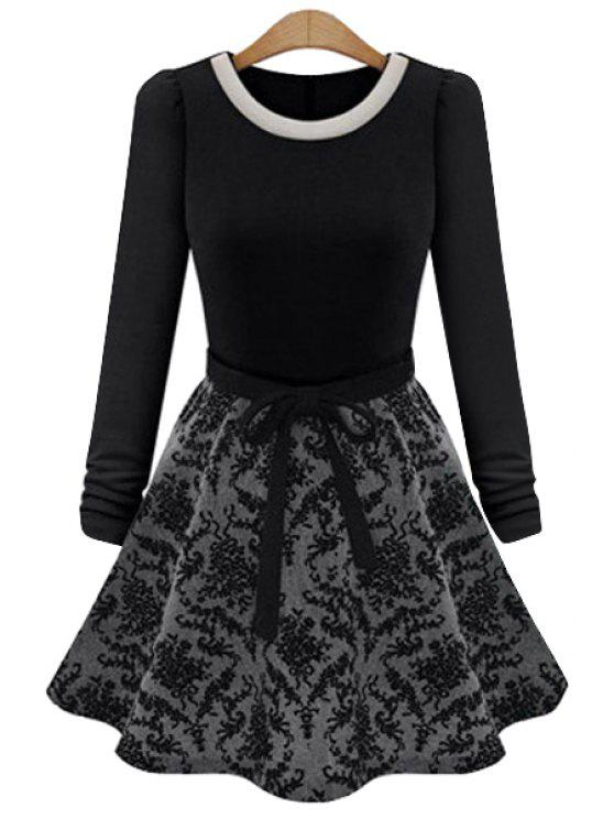 online Floral Splicing Long Sleeve Dress - BLACK M