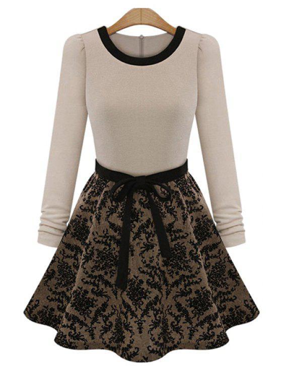 shops Floral Splicing Long Sleeve Dress - BEIGE XL