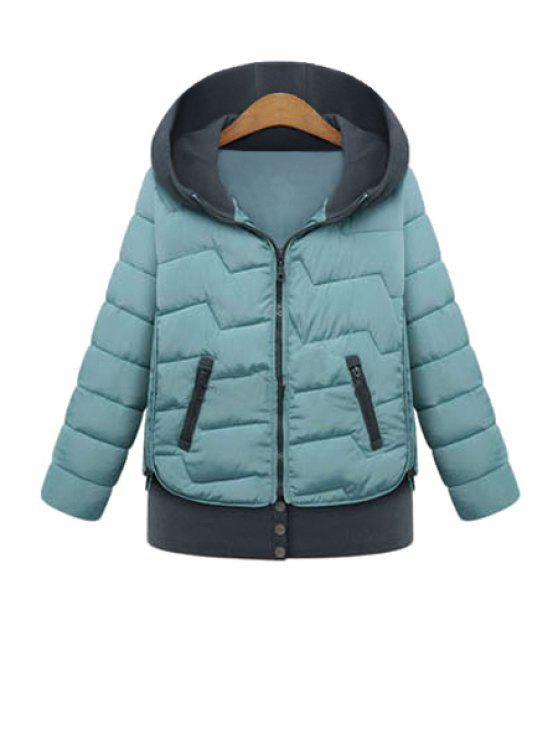 outfit Hooded Color Block Coat - BLUE L