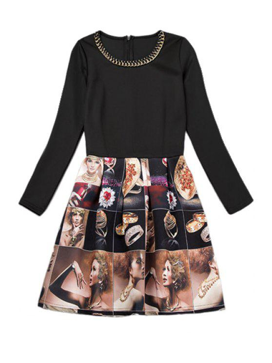 trendy Figure Print Long Sleeve Dress - AS THE PICTURE M