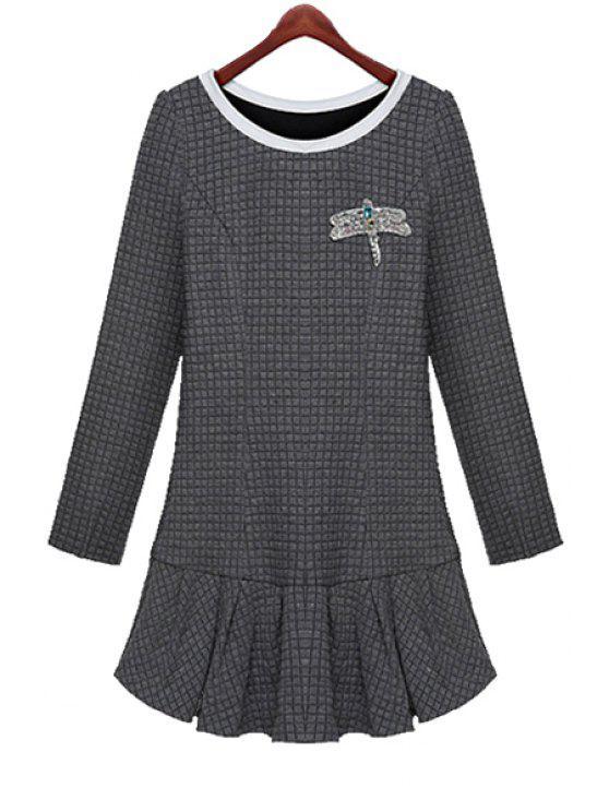 women's Ruffles Long Sleeve Diamante Dress - GRAY XL