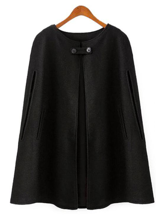 unique Black Worsted Cape-Style Coat - BLACK S