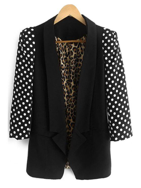 fancy Polka Dot Splicing 3/4 SleeveBlazer - BLACK S