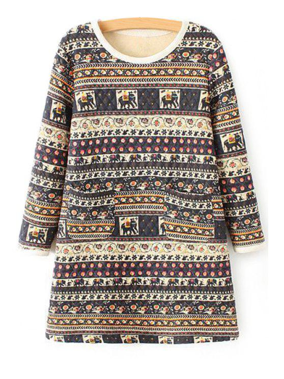 ladies Ethnic Print Long Sleeve Dress - COLORMIX S