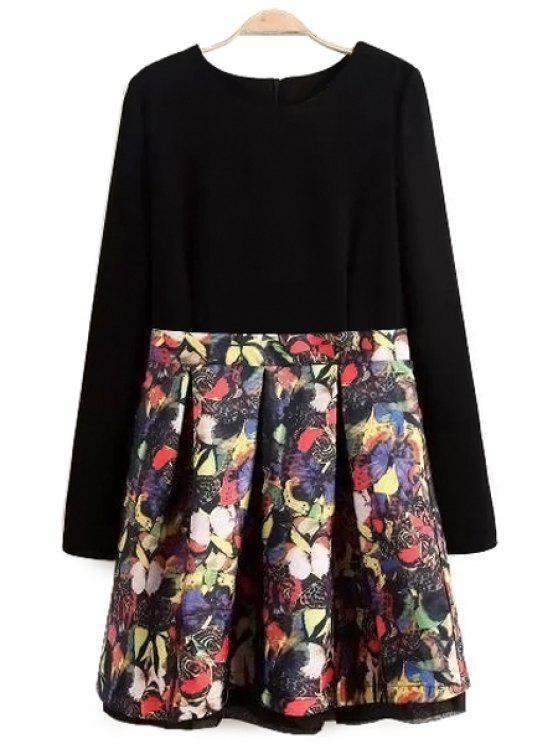 online Butterfly Print Long Sleeve Dress - BLACK S