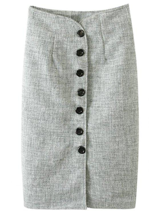 online Single-Breasted Worsted Skirt - LIGHT GRAY S