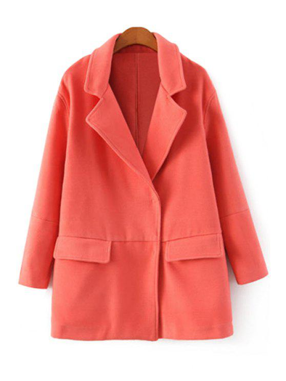 hot Lapel Solid Color Worsted Coat - PINK S