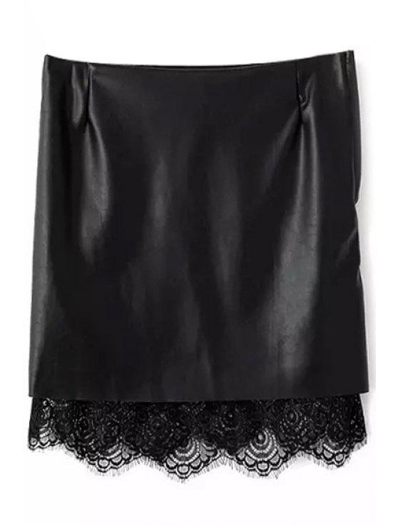 fashion PU Leather Lace Splicing Skirt - BLACK S