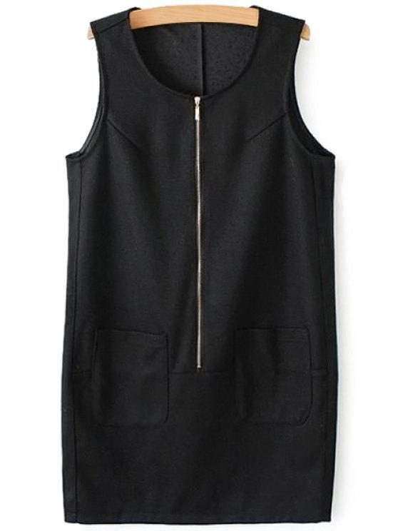outfits Solid Color Pocket Zipper Sundress - BLACK S