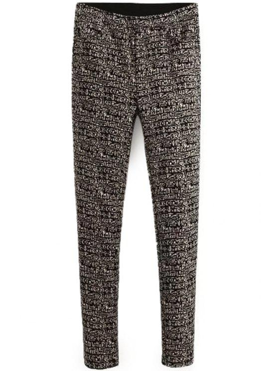 online Abstract Pattern Narrow Feet Pants - GRAY S
