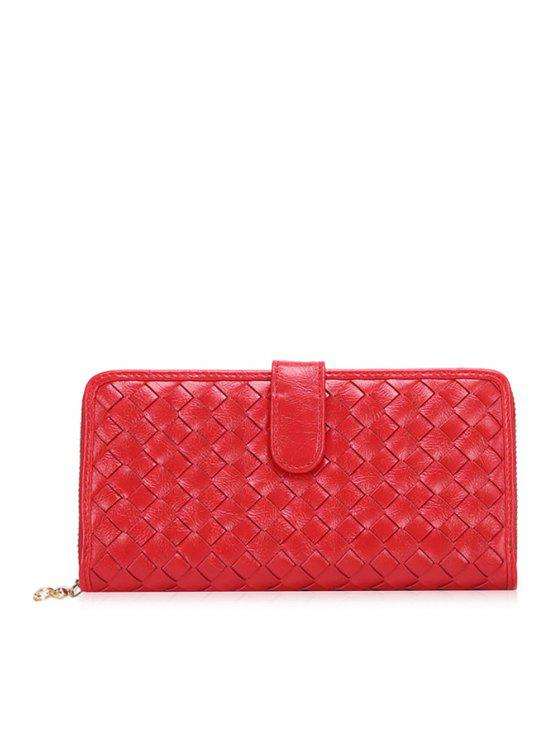 buy Weaving Checked Solid Color Wallet - RED