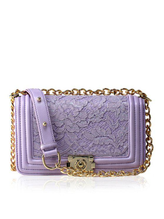 best Lace Solid Color Chain Crossbody Bag - PURPLE