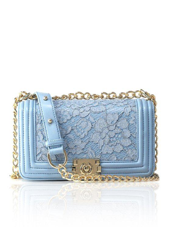 online Lace Solid Color Chain Crossbody Bag - BLUE