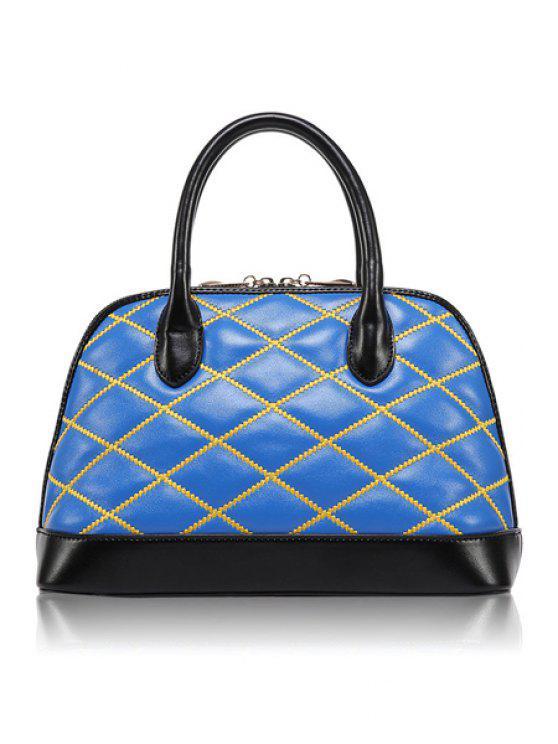 latest Color Block Checked Zipper Tote Bag - BLUE