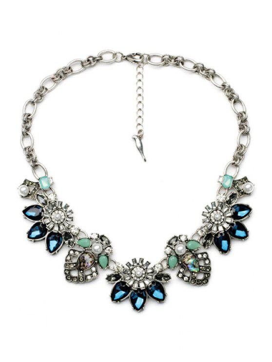 outfits Crystal Decorated Flower Pendant Necklace  - AS THE PICTURE