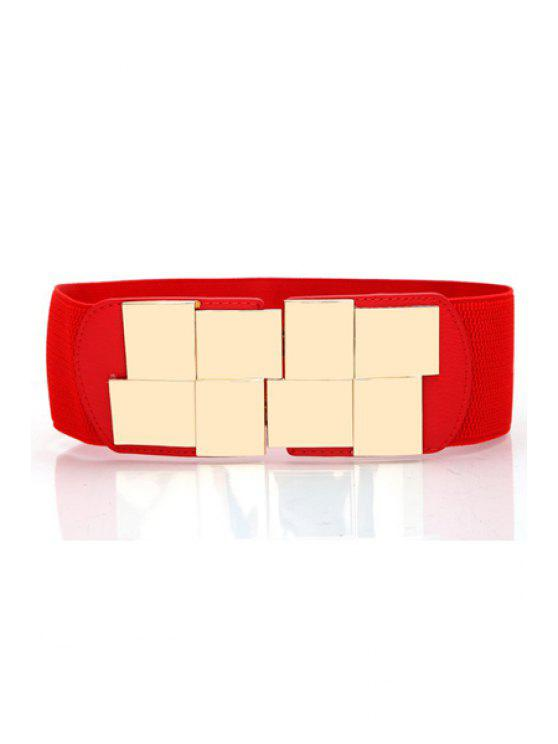unique Geometric Metal Buckle Elastic Belt - RED