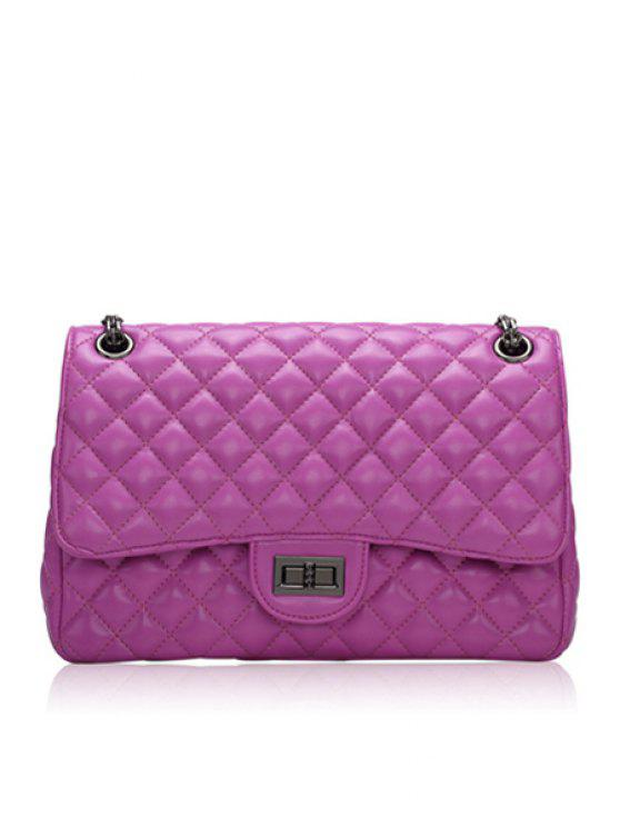 fashion Checked Chain Solid Color Shoulder Bag - DEEP PURPLE