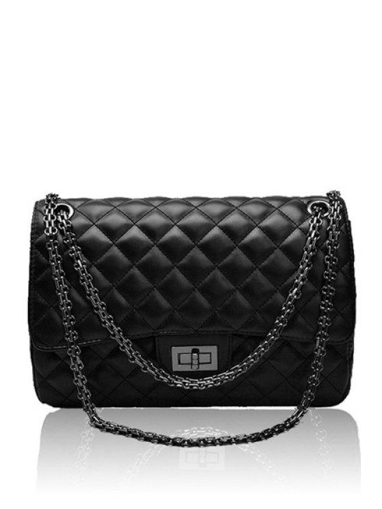 chic Checked Chain Solid Color Shoulder Bag - BLACK