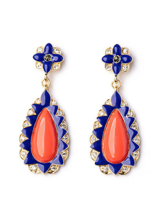 sale Pair of Waterdrop Faux Gem Decorated Earrings - BLUE AND RED