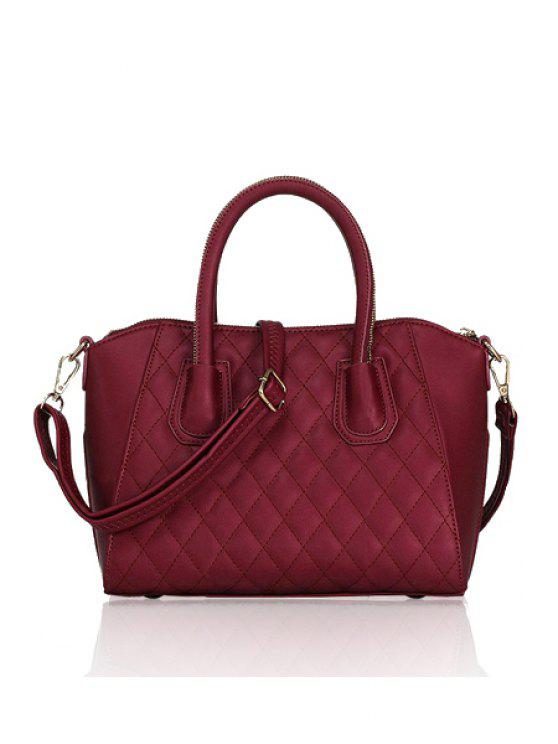 fancy Checked Solid Color Zipper Tote Bag - RED