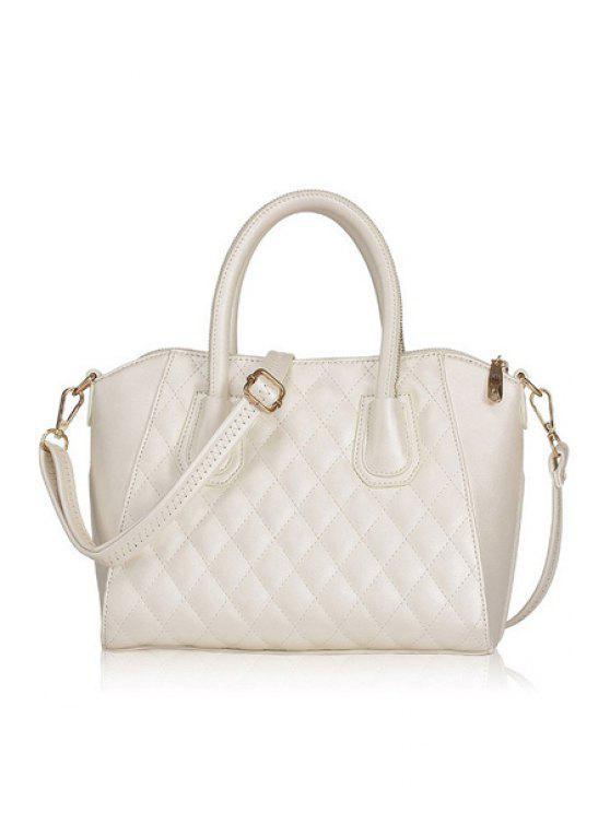 unique Checked Solid Color Zipper Tote Bag - WHITE