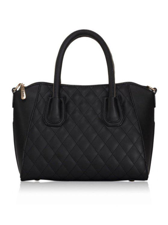 sale Checked Solid Color Zipper Tote Bag - BLACK