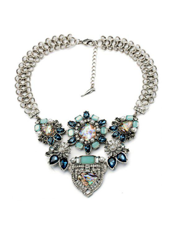 shop Faux Gem and Crystal Decorated Flower Necklace - AS THE PICTURE