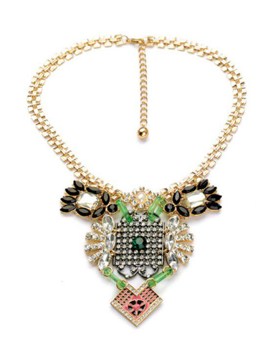shops Rhinestone Embellished Pendant Necklace - AS THE PICTURE