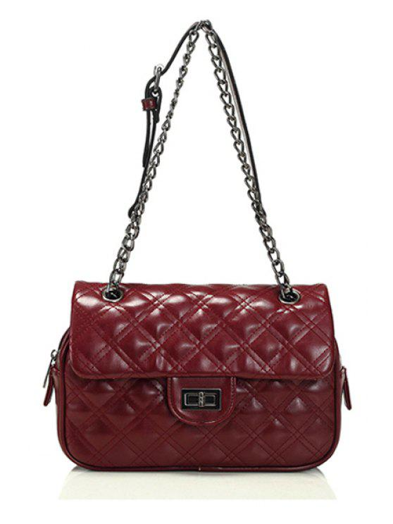 affordable Checked Chain Hasp Shoulder Bag - WINE RED