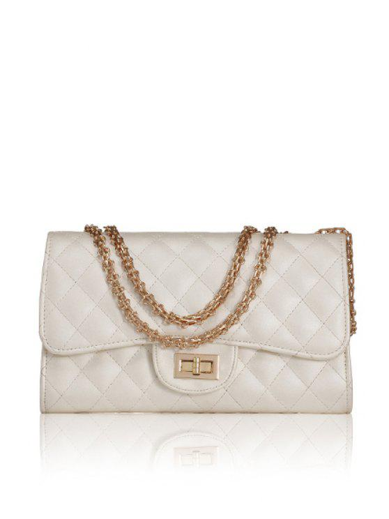 ladies Chain Checked Hasp Shoulder Bag - WHITE