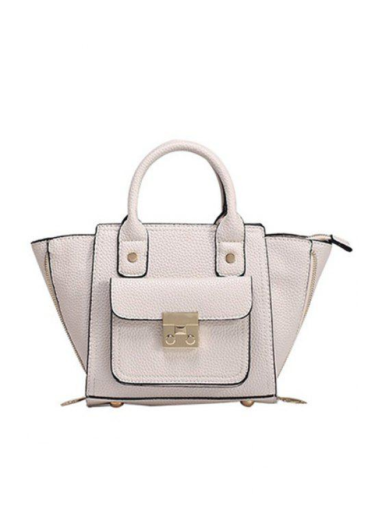 best Rivets Hasp Solid Color Tote Bag - WHITE