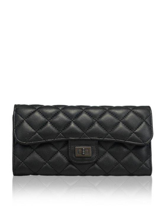 outfit Black Checked Hasp Women's Wallet - BLACK