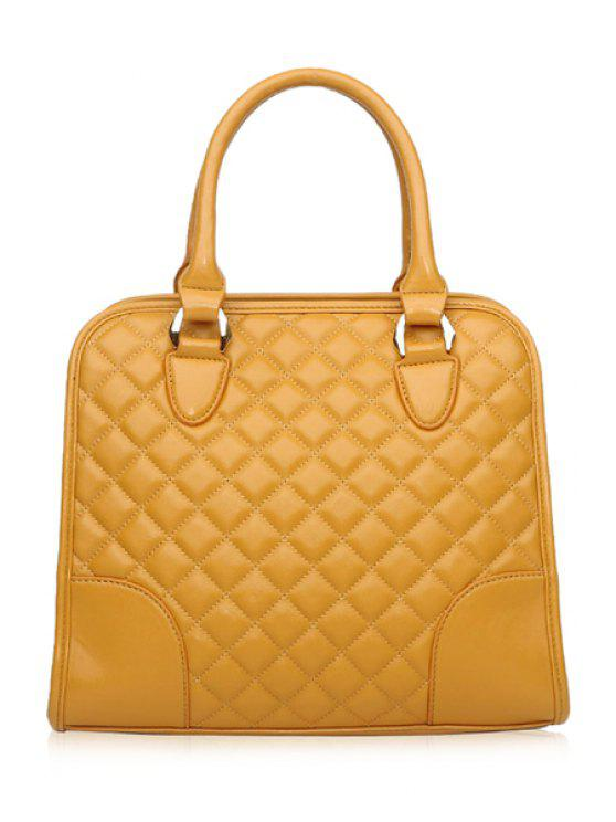 outfits Checked Splice Zipper Tote Bag - YELLOW