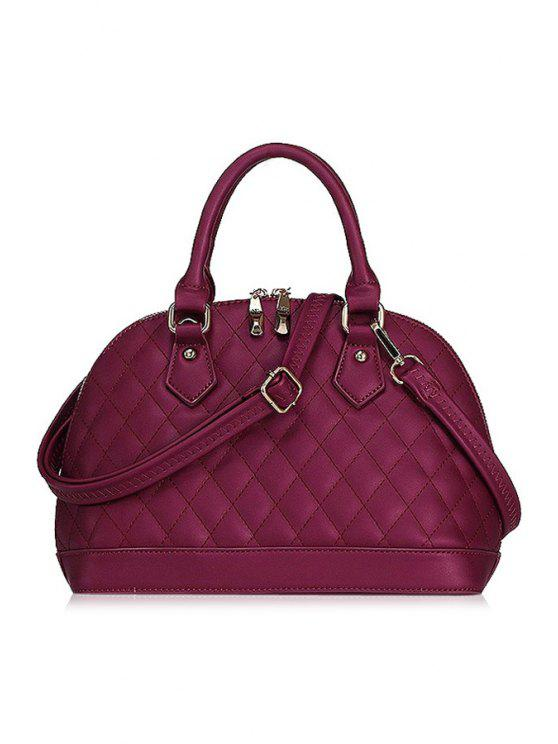 trendy Checked Shell Shape Tote Bag - WINE RED