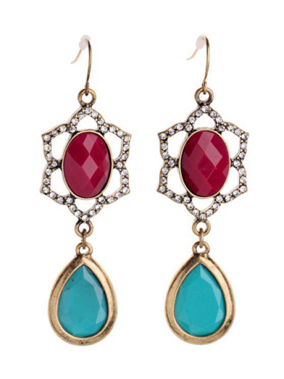 ladies Pair of Gemstone Pendant Earrings - BLUE AND RED