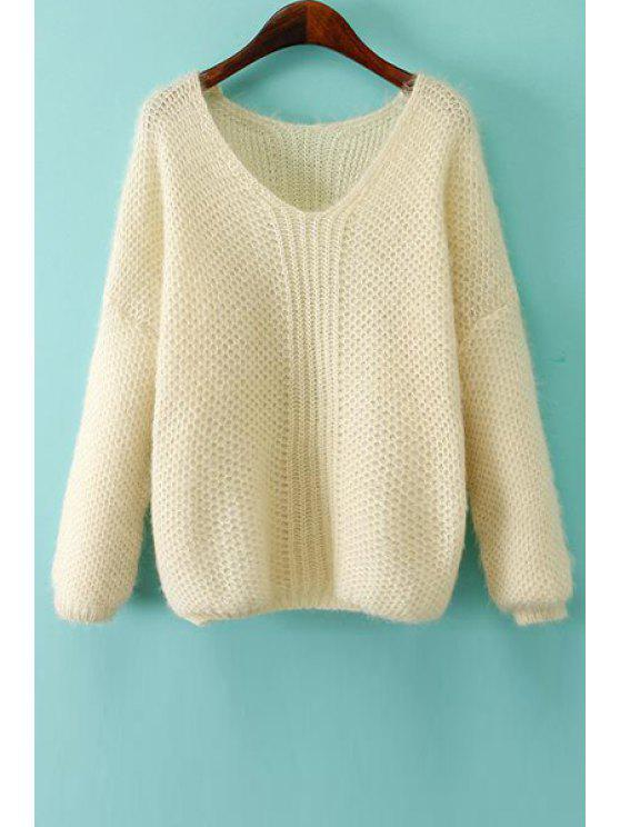 outfits V-Neck Solid Color Sweater - WHITE ONE SIZE(FIT SIZE XS TO M)
