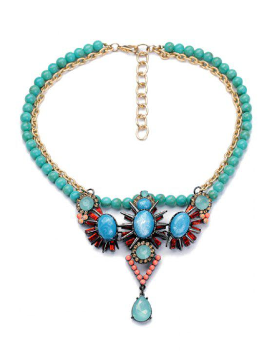 shops Beads Embellished Pendant Necklace - AS THE PICTURE