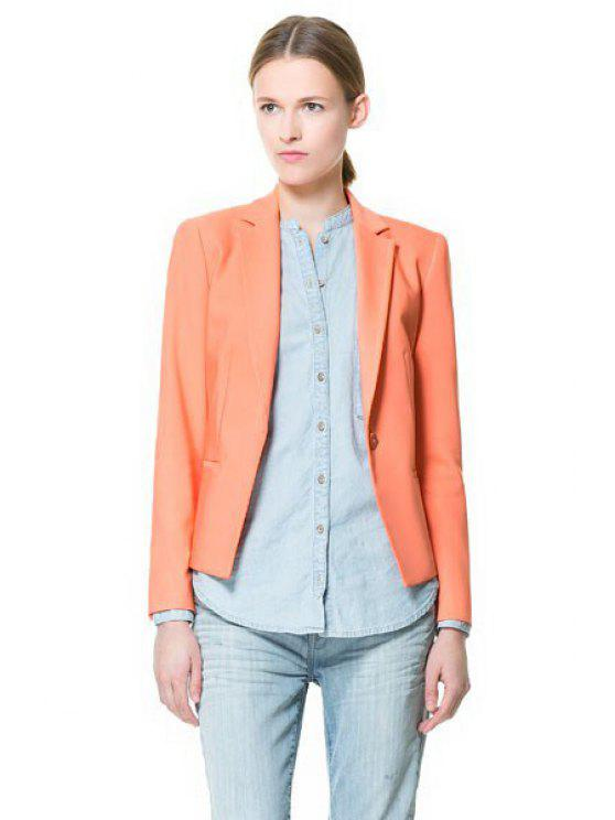 buy Solid Color Lapel One Button Blazer - ORANGE S