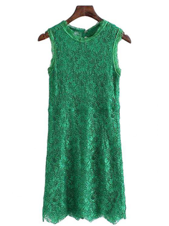 unique Lace Solid Color Bowknot Sundress - GREEN L