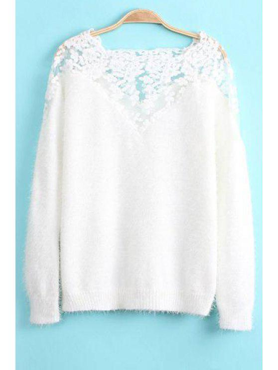 lady Embroidery Splicing Long Sleeve Sweater - WHITE ONE SIZE(FIT SIZE XS TO M)