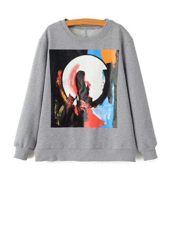 outfits Colorful Abstract Print Sweatshirt - GRAY S