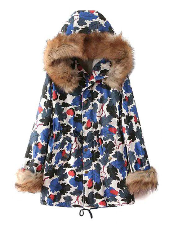 latest Leaf Print Hooded Coat - BLUE M