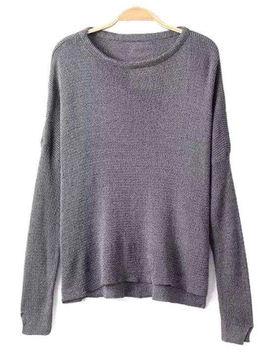 fancy Scoop Collar Solid Color Knitwear - LIGHT GRAY M