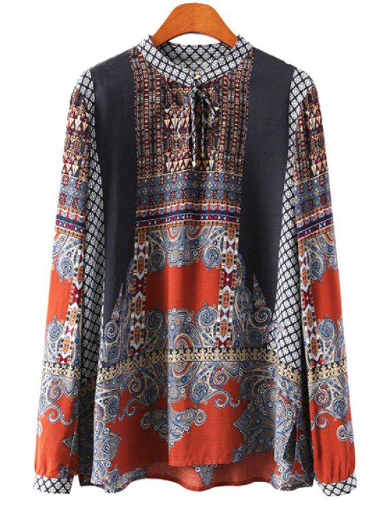 shops Print Stand Collar Lace-Up Blouse - COLORMIX S