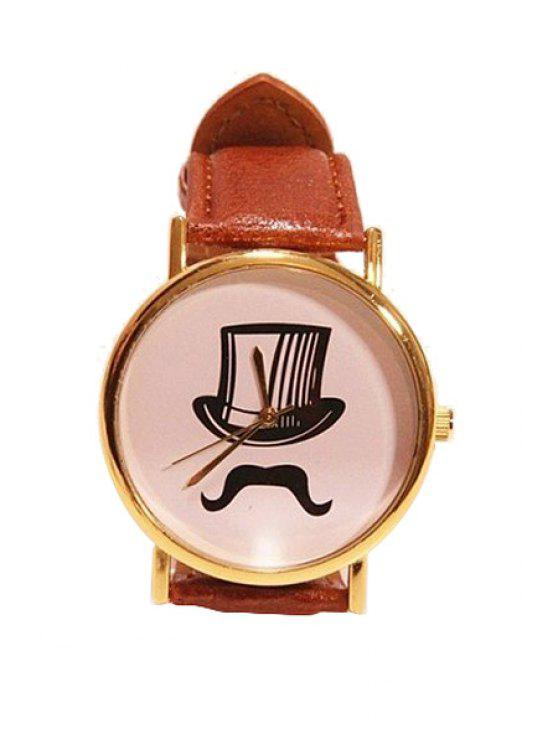 women's Tall Hat Beard Pattern PU Watch - BROWN