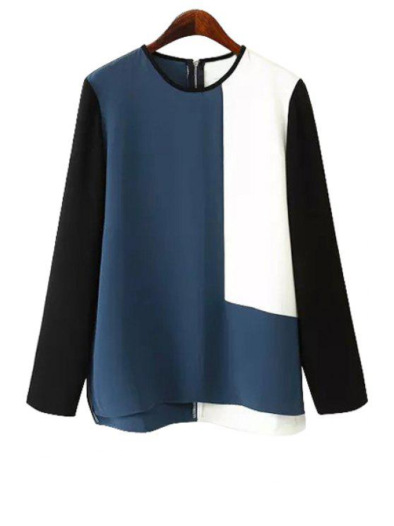 women's Color Block Zipper Back Blouse - COLORMIX L