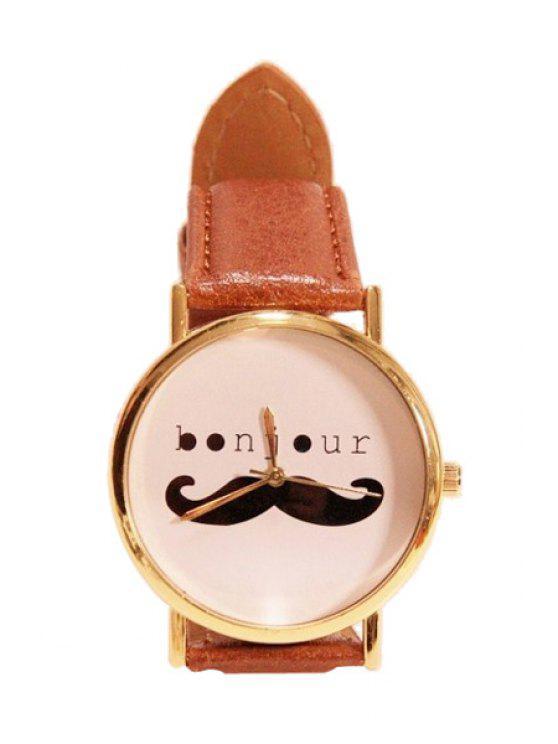 ladies Mustache Letter Pattern Watch - BROWN