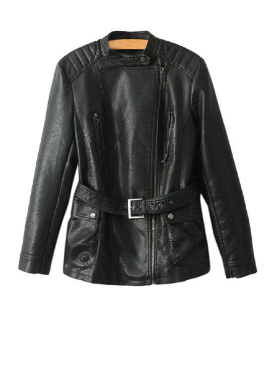 shop PU Leather Stand Collar Belt Jacket - BLACK XS