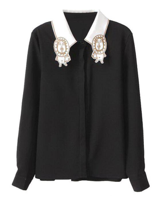 fancy Tiger Embroidery Long Sleeve Shirt - BLACK S